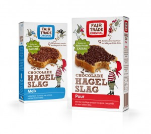 Hagelslag van Fair Trade, met illustraties van Sieb Posthuma